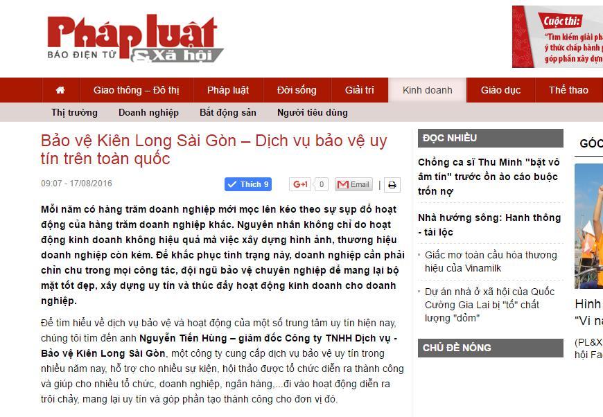 Báo pháp luật & xã hội nói về bảo vệ Kien Long Sài Gòn